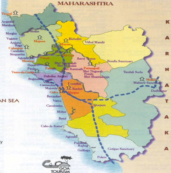 tourist map of goa. Map of Goa